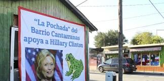 Reynosa.- Los residentes de un popular y céntrico barrio de esta ciudad colocaron una manta donde dan testimonio de su apoyo a la candidatura de Hillary Clinton a la Presidencia de los Estados Unidos.