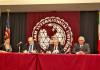 """El Rector de la UAT, Enrique Etienne Pérez del Río y el Presidente de TAMIU, Dr. Pablo Arenaz, suscribieron el acuerdo en el marco del Foro Académico Internacional """"Energía y Sociedad"""", que se desarrolló en Nuevo Laredo, Tamaulipas y Laredo, Texas."""