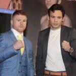 """México.- Los boxeadores Saúl """"Canelo"""" Álvarez y Julio César Chávez Jr. presentaron en la Ciudad de México el duelo que sostendrán el próximo 6 de mayo."""